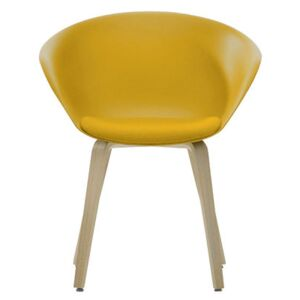 Duna 02 Armchair - Wood legs - Seat cushion by Arper Yellow/Natural wood