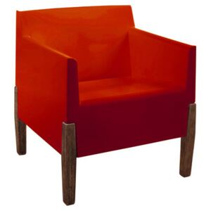 Kubrick Armchair by Serralunga Red/Natural wood