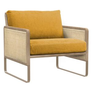 Cannage Padded armchair - / Fabric by RED Edition Yellow/Natural wood