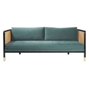 Cannage Straight sofa - / L 210 cm - Fabric by RED Edition Blue/Beige/Natural wood
