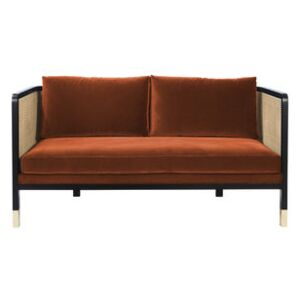Cannage Straight sofa - / L 160 cm - Velvet by RED Edition Orange/Beige/Natural wood