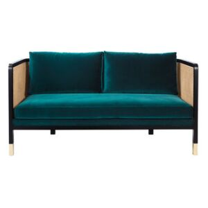 Cannage Straight sofa - / L 160 cm - Velvet by RED Edition Blue/Beige/Natural wood