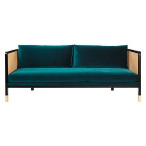 Cannage Straight sofa - / L 210 cm - Velvet by RED Edition Blue/Beige/Natural wood