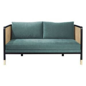 Cannage Straight sofa - / L 160 cm - Fabric by RED Edition Blue/Beige/Natural wood