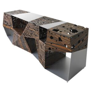 Riddled Dresser - L 200 cm / Perforated ebony & metal by Horm Natural wood/Metal
