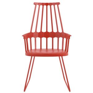 Comback Armchair - Polycarbonate & metal sledge leg by Kartell Red