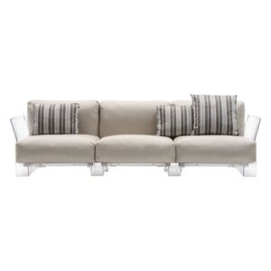 Pop outdoor Straight sofa - 3 seaters / L 255 cm by Kartell Beige/Transparent