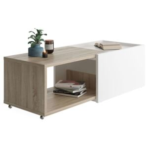 FMD Extendable Coffee Table White and Oak