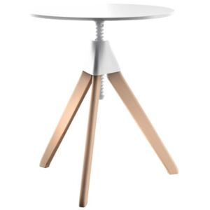 Topsy Adjustable height table by Magis White/Natural wood