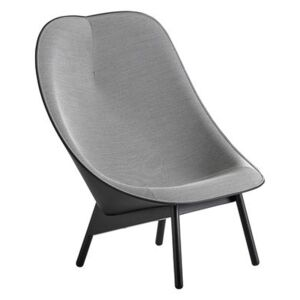 Uchiwa Padded armchair - / Fabric & leather and wooden feet by Hay Grey/Black