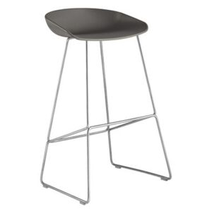 About a stool AAS 38 Bar stool - H 75 cm - Steel sled base by Hay Grey/Metal