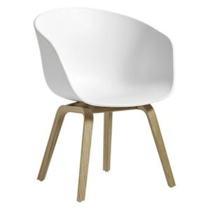 About a chair AAC42 Low armchair - / Plastic & oak by Hay White/Natural wood
