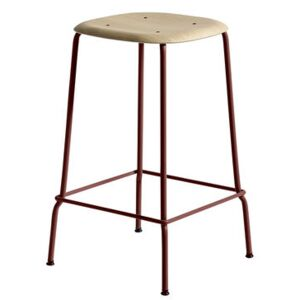 Soft Edge 30 High stool - H 65 cm / Wood & metal by Hay Red/Natural wood