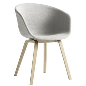 About a chair AAC23 Padded armchair - 4 legs /Full fabric by Hay Grey/Natural wood