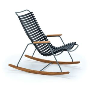 Click Children rocking chair - / Plastic & bamboo by Houe Black