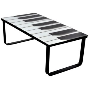 Coffee Table with Piano Printing Glass Top
