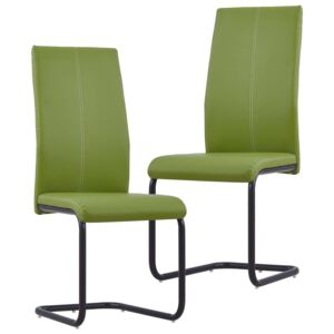 VidaXL Cantilever Dining Chairs 2 pcs Green Faux Leather