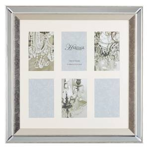 Multi Photo Frame Silver Glass Mirrored 50 x 50 cm for 6 Pictures 10 x 15 cm Collage Aperture Beliani