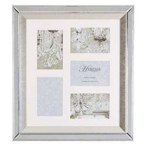 Multi Photo Frame Silver Glass Mirrored 49 x 44 cm for 5 Pictures 10 x 15 cm Collage Aperture Beliani