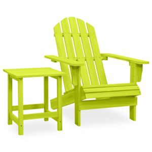 Garden Adirondack Chair with Table Solid Fir Wood Green