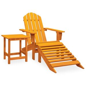 Garden Adirondack Chair with Ottoman&Table Solid Firwood Orange