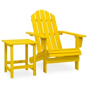 Garden Adirondack Chair with Table Solid Fir Wood Yellow