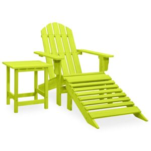Garden Adirondack Chair with Ottoman&Table Solid Fir Wood Green
