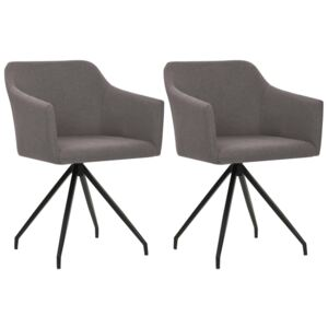Swivel Dining Chairs 2 pcs Taupe Fabric