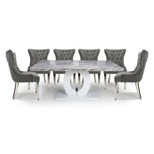 Neppa Large & 6 Lionhead Grey with Silver Legs Dining Set