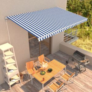 VidaXL Manual Retractable Awning 500x300 cm Blue and White