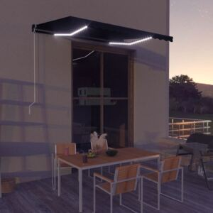 VidaXL Manual Retractable Awning with LED 350x250 cm Anthracite