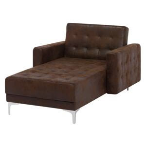 Chaise Lounge Brown Faux Leather Tufted Modern Living Room Reclining Day Bed Silver Legs Track Arms Beliani