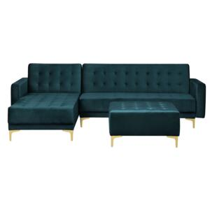Corner Sofa Bed Teal Velvet Tufted Fabric Modern L-Shaped Modular 4 Seater with Ottoman Right Hand Chaise Longue Beliani
