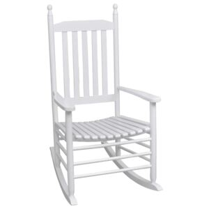 VidaXL Rocking Chair with Curved Seat White Wood