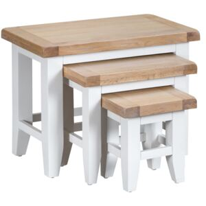 Suffolk White Painted Oak Nest of 3 Tables