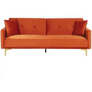 Sofa Bed Orange Velvet 3 Seater Buttoned Seat Click Clack Traditional Living Room Beliani
