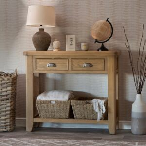 Wessex Smoked Oak Console Table with Wicker Baskets