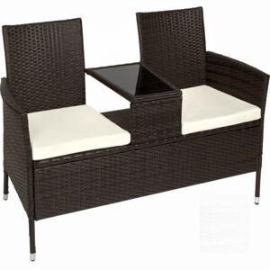 Tectake 401548 garden bench with table poly rattan - brown