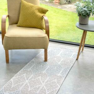 Moroccan Tile Faded Beige Woven Sustainable Recycled Cotton Runner Rug | Kendall