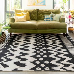 Rustic Chic Black White Woven Sustainable Recycled Cotton Rug | Kendall