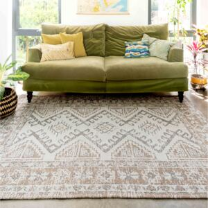 Contemporary Vintage Faded Beige Woven Sustainable Recycled Cotton Rug   Kendall
