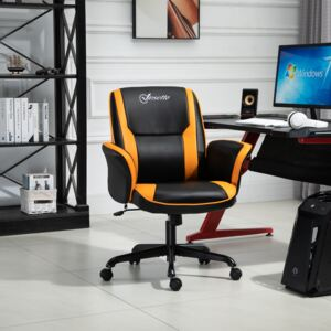 Vinsetto PU Leather Upholstered Gaming Chair Yellow/Black