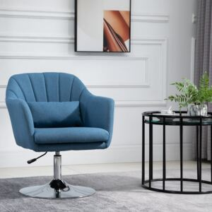 HOMCOM Swivel Accent Chair for Living Room Contemporary Vanity Armchair with Adjustable Height Thick Cushion Lumbar Support Armrest Blue