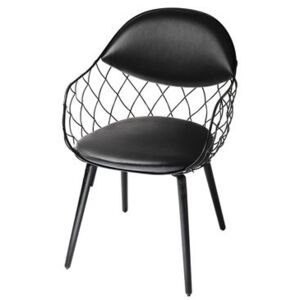Pina Padded armchair - Leather / Metal & wood legs by Magis Black