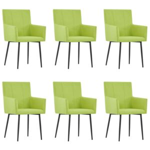 VidaXL Dining Chairs with Armrests 6 pcs Green Fabric