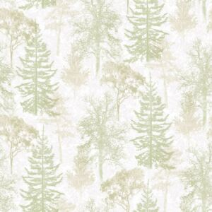 Evergreen Wallpaper Trees White and Green
