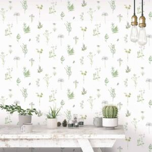 Evergreen Wallpaper Herbs And Flowers White