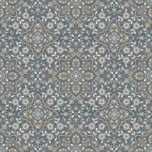 Homestyle Wallpaper Portugese Tiles Brown and Blue