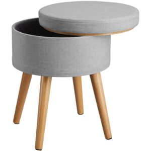 Tectake 403971 stool yara upholstered chair with storage space in linen look - light grey