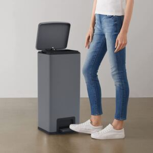Dustbin with Pedal Anti-fingerprint 30L Grey Stainless Steel